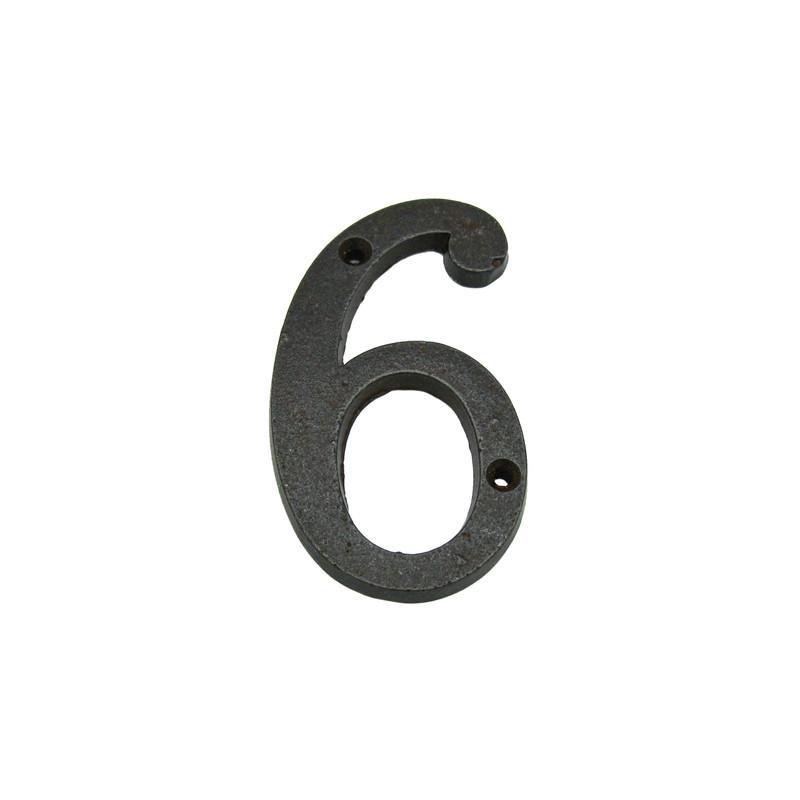 Die 6 als Hausnummer aus Eisen Antik, eine Nummer für Haus, Garten und Gasthof. Sie finden Zahlen von 0 bis 9 bei uns.