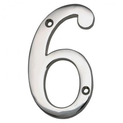6 Hausnummer Eingangsbereich Haus mit Zahlen aus glänzendem Nickel kennzeichnen.