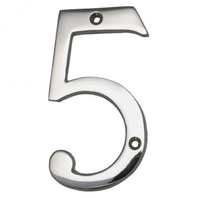 Die Fünf als Hausnummer aus Nickel Glanz, eine Nummer für Haus und Schrebergarten. Sie finden Zahlen von 0 - 9 bei uns.