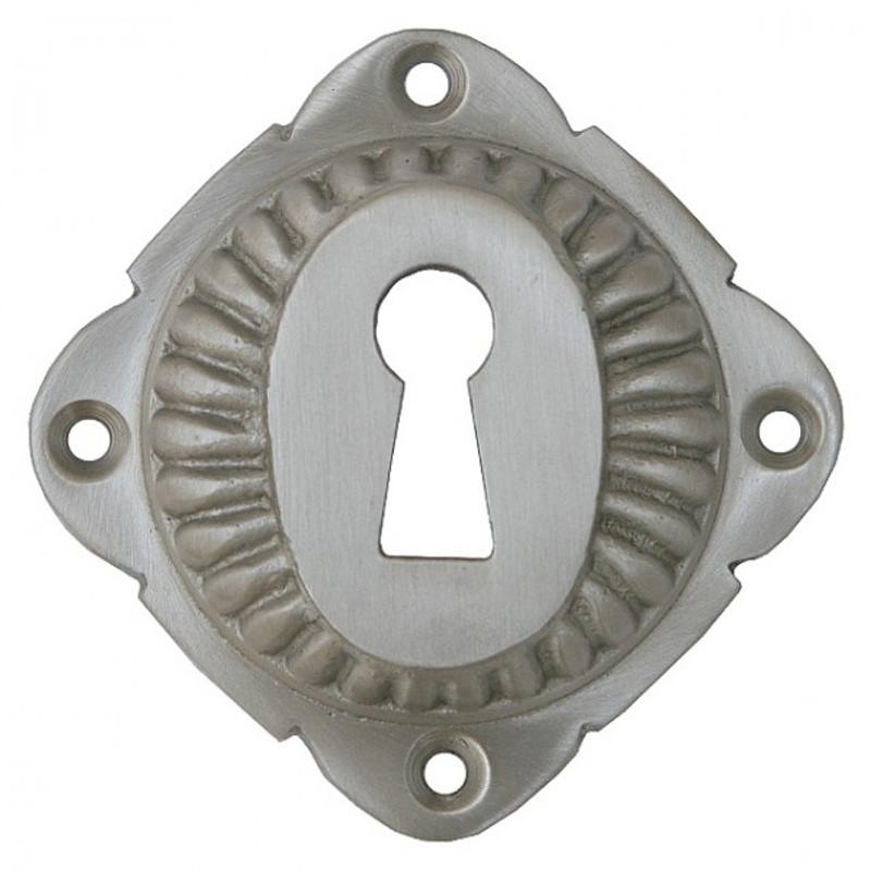 Buntbart Schlüsselrosette Nickel matt für ein Schlüsselloch im Barock Design.