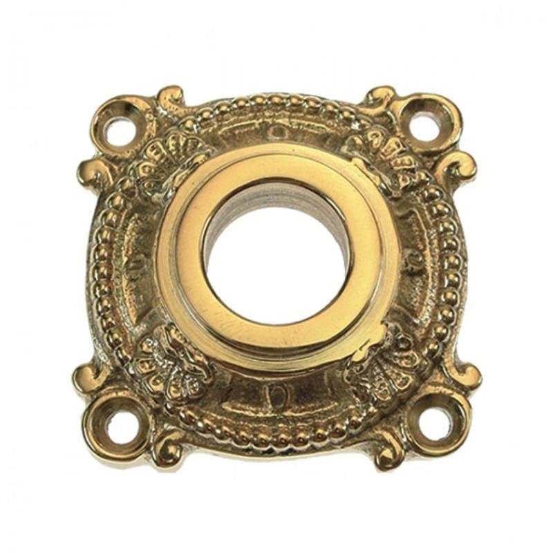 Türklinken Rosette aus Messing gold glänzend mit feiner Verzierung für Zimmertür.