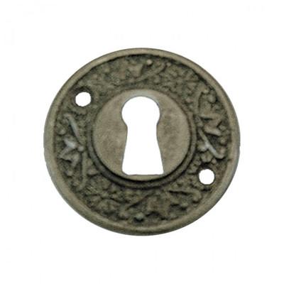 Schloss Innentür Rosette rund Buntbart Schlüsselloch Abdeckung. Antik gestaltete BB Rosette für Zimmertürschlösser.