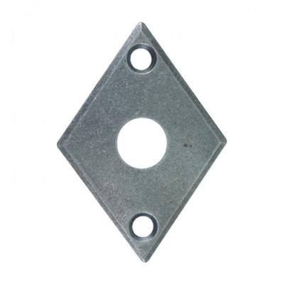 Metallrosette Karo Türdrücker Rosette aus altgrauem Eisen in Rauten Form als Tür Zubehör in einfachem Design.