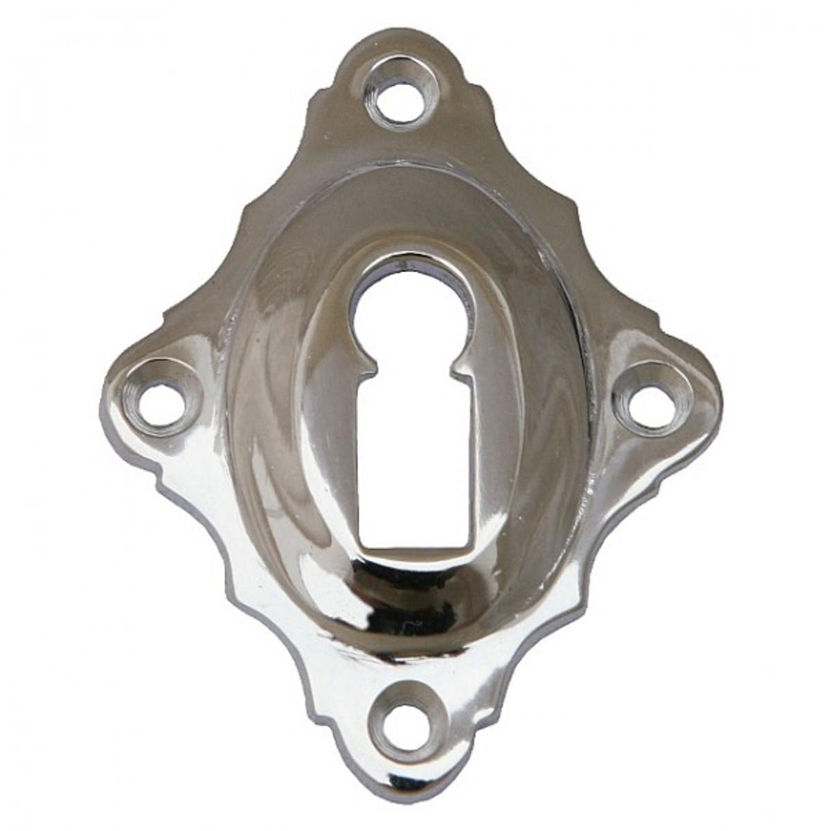 Schlüssel Rosette BB Nickel im Landhaus Stil glänzend poliert, für alle Din Zimmertüren mit Buntbartschloss.