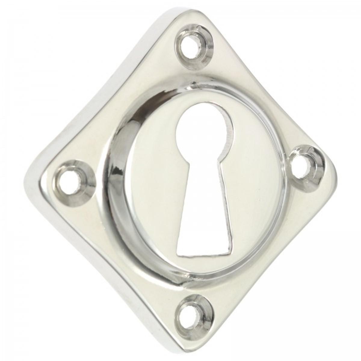Türschloss für Innentüren Rosette Buntbart Nickel im schlichten modernen Design glänzend poliert gleich online kaufen.
