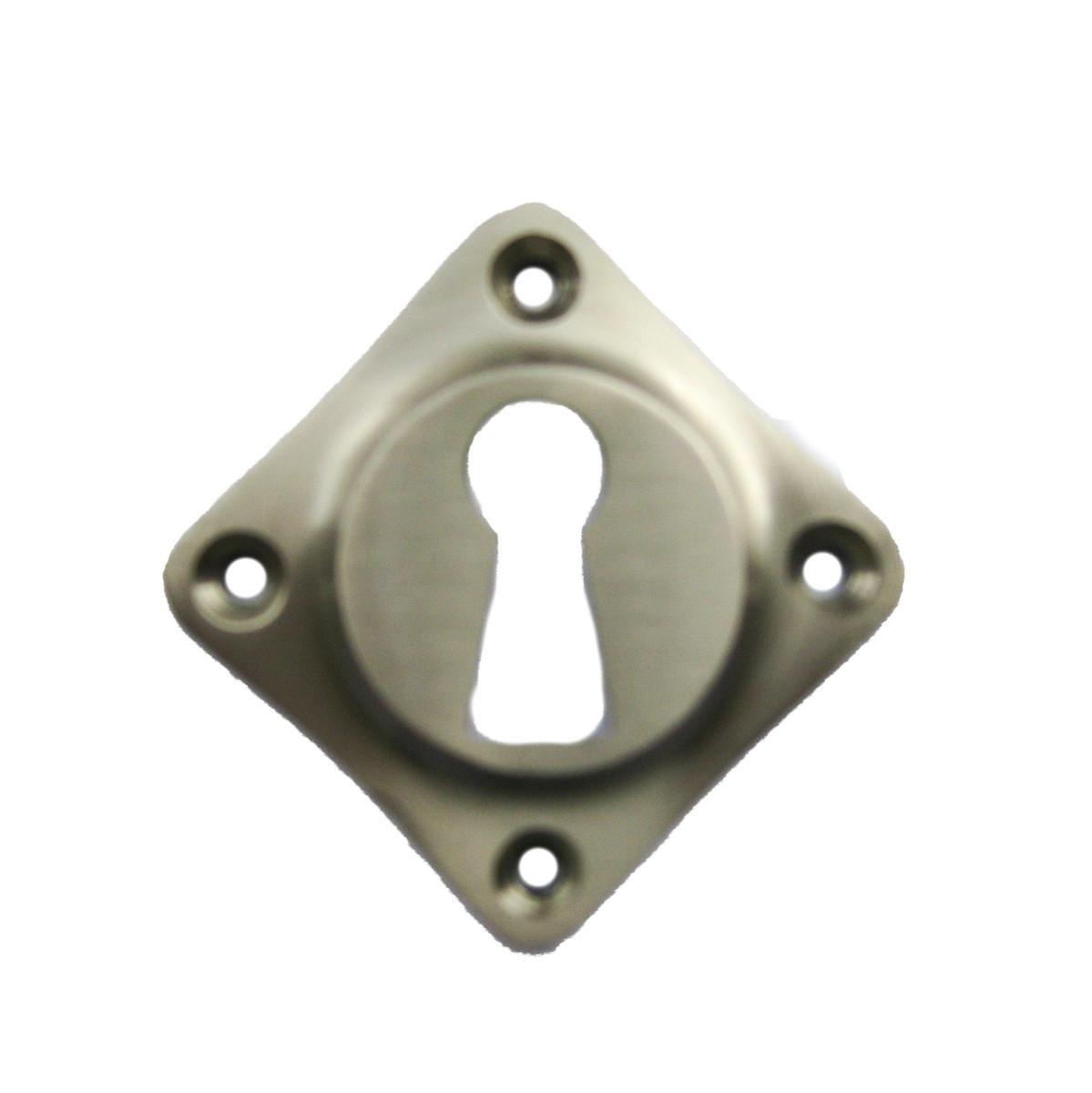 Einbau von Zimmertüren Rosette Buntbart Nickel seidig mattiert in Karo Form direkt im Beschlag Online Shop bestellen.