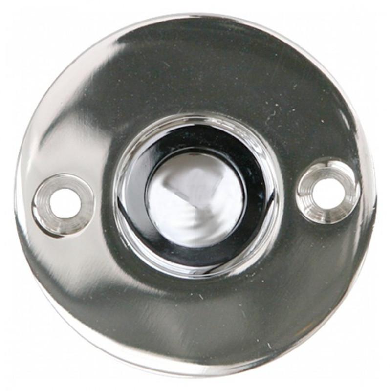 Klingeln aus glänzendem Nickel im schlichten Nostalgie Stil. Hochwertige Haustürklingel mit Klingelknopf und Platte.