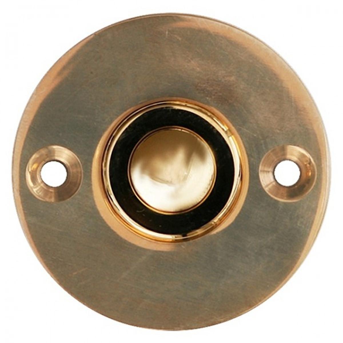 Türklingeln aus poliertem Messing im schlichten Antik Design. Hochwertige Haustürklingel mit Klingeltaster und Platte.