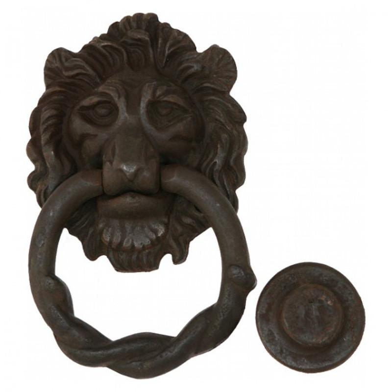 Türklopfer Löwe in robuster Eisen Ausführung mit Anschlag Knopf für den Eisenring. Nostalgie Flair für die Eingangstür.