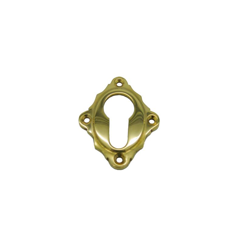 Tuerschloesser Rosetten Profilzylinder Messing poliert rautenförmig Zubehör für Türen in Haus und Garten.