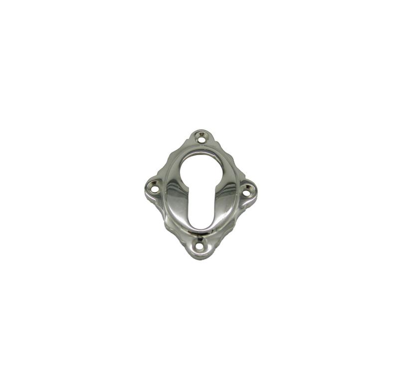 Rosette rautenförmig PZ Schlüsselrosette Messing vernickelt einzeln, Türschloss Zubehör für Türen in Haus und Garten.