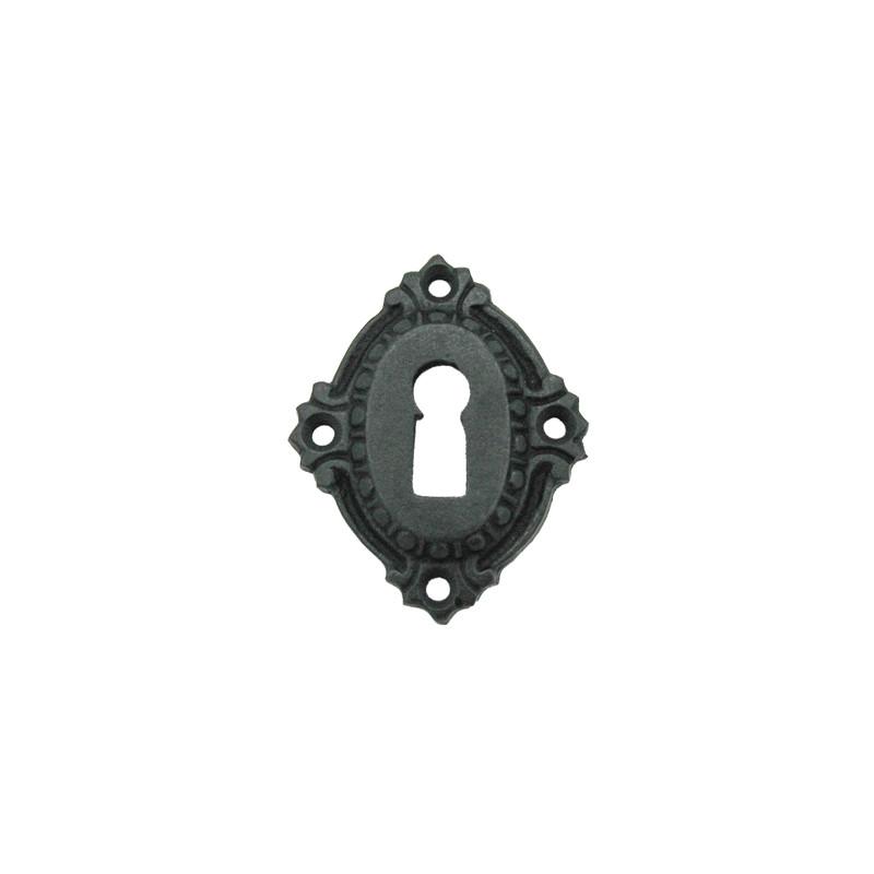 Ovale Barock Schlüsselrosette Buntbart Türbeschlag Eisen schwarz einzeln, Schlösser Ersatzteil für Türen im ganzen Haus.