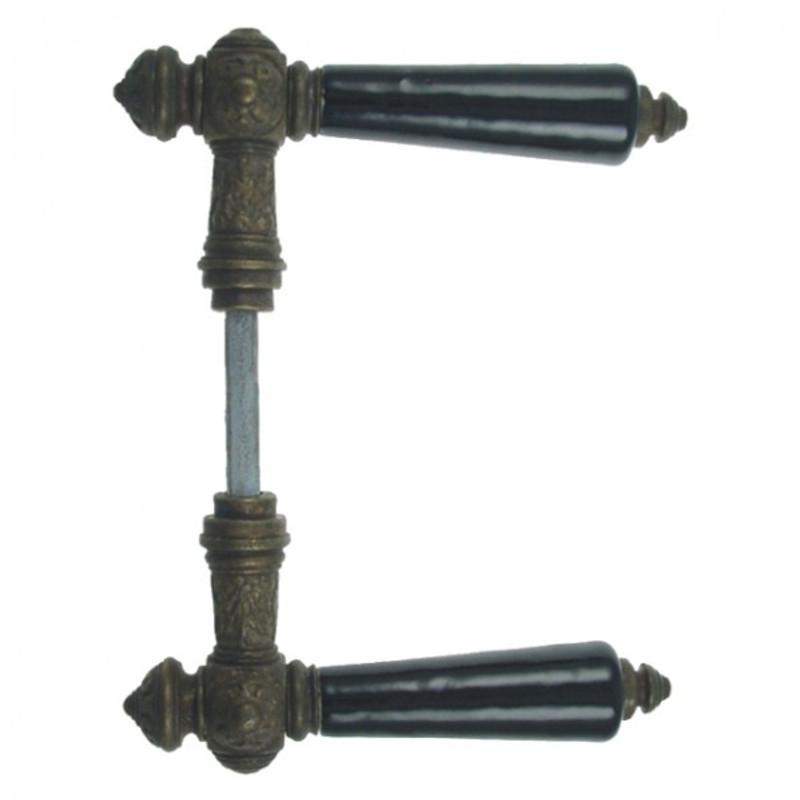 Messingbeschläge Antik Türdrücker kaufen antike Türklinken mit schwarzem Porzellan Griff kombiniert für Innenraumtüren.