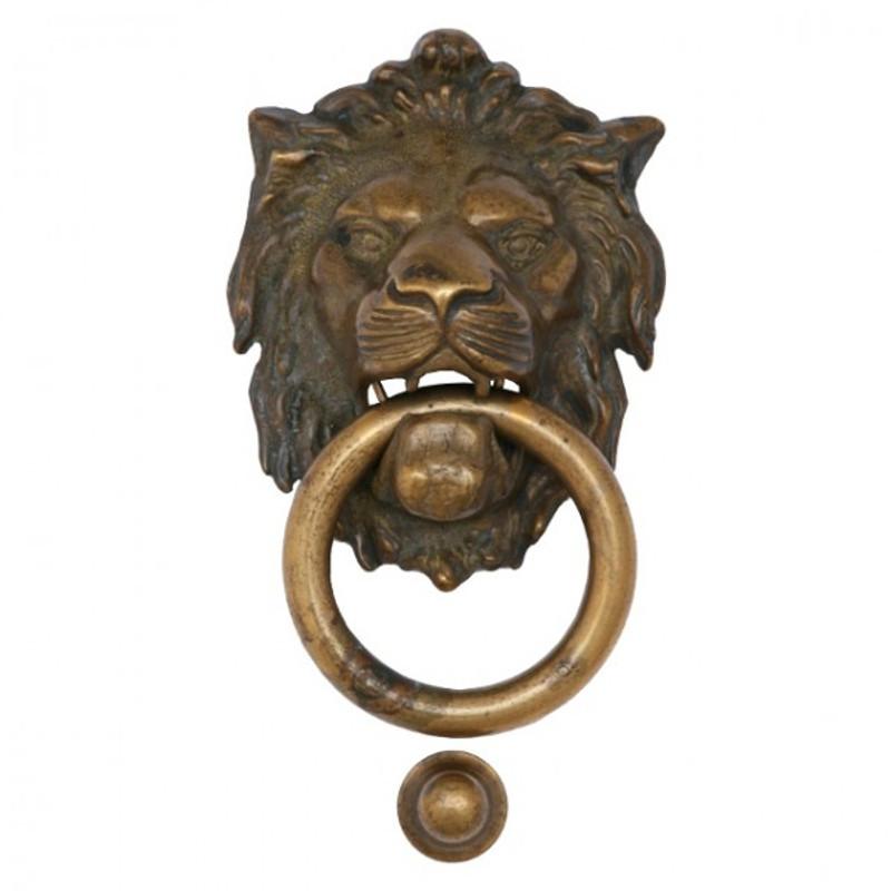 Haustüren Antik gestalten Türklopfer Löwe kaufen als Messingbeschlag für Ihre Türen. Dekorativer Löwenkopf im Antik Stil.
