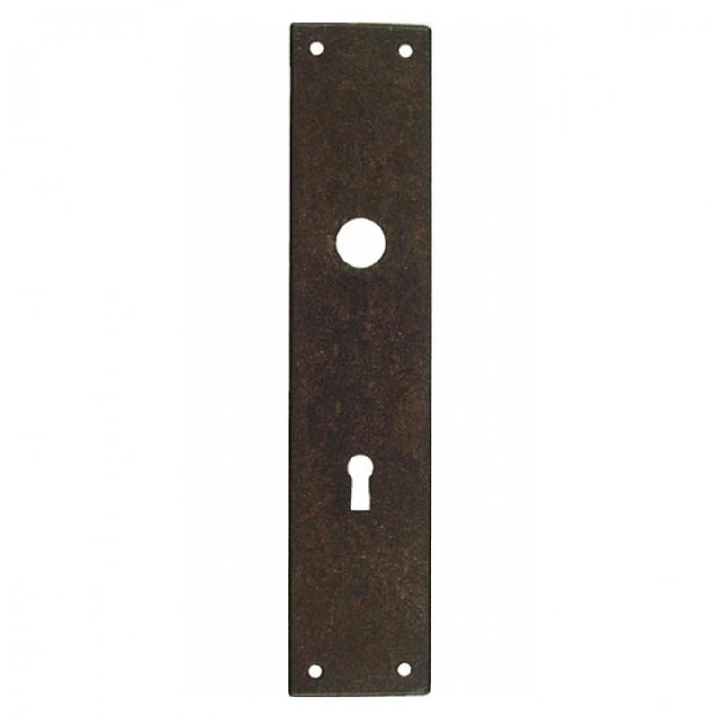 Zimmertüren Landhausstil Türschild Langschild Buntbart Rosette mit 72er Bohrung für das Schlüsselloch aus Eisen Antik.