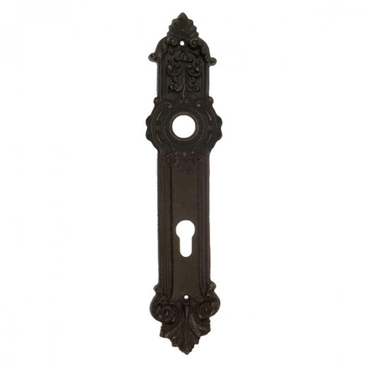 Tür Schild Langschild Profilzylinder Rosette mit 92er Schlüsselloch Bohrung aus Eisen. Antik gestaltete Tür Schilder.