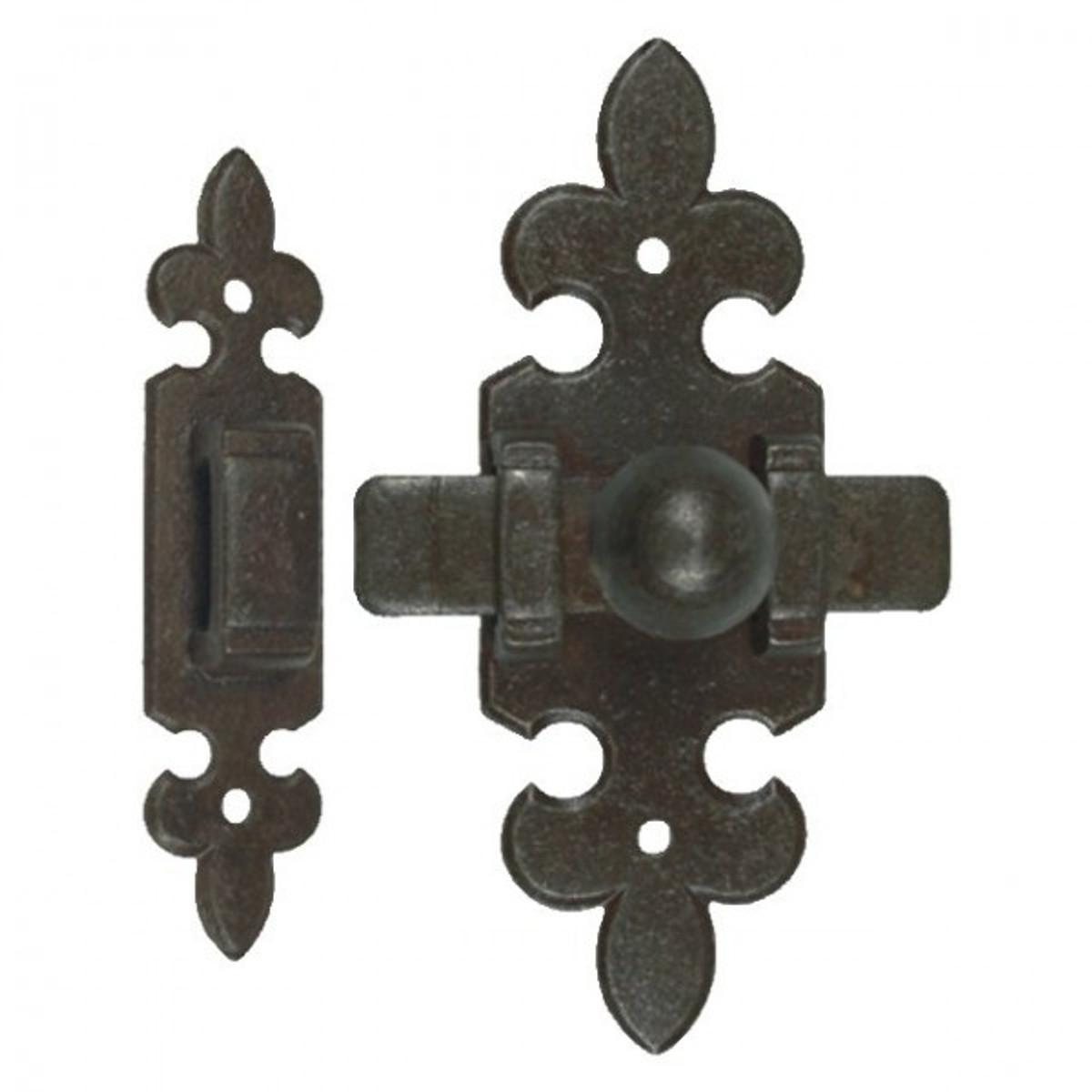 Riegel Eisen Garnitur Eisen antik für Haustür Tür und Tor handgeschmiedet brüniert rustikal 2-teilig