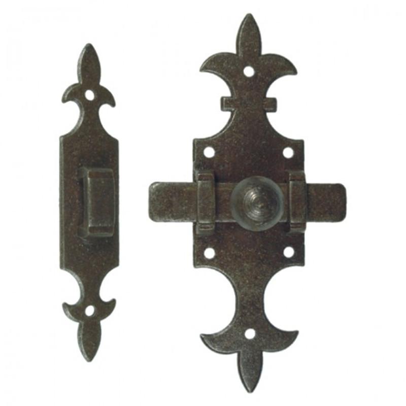 Tür Riegel Tor Riegel Verschluss 2 teilig mit Querriegel und Gegenstück. Vielseitiger Eisen Beschlag im antiken Design.