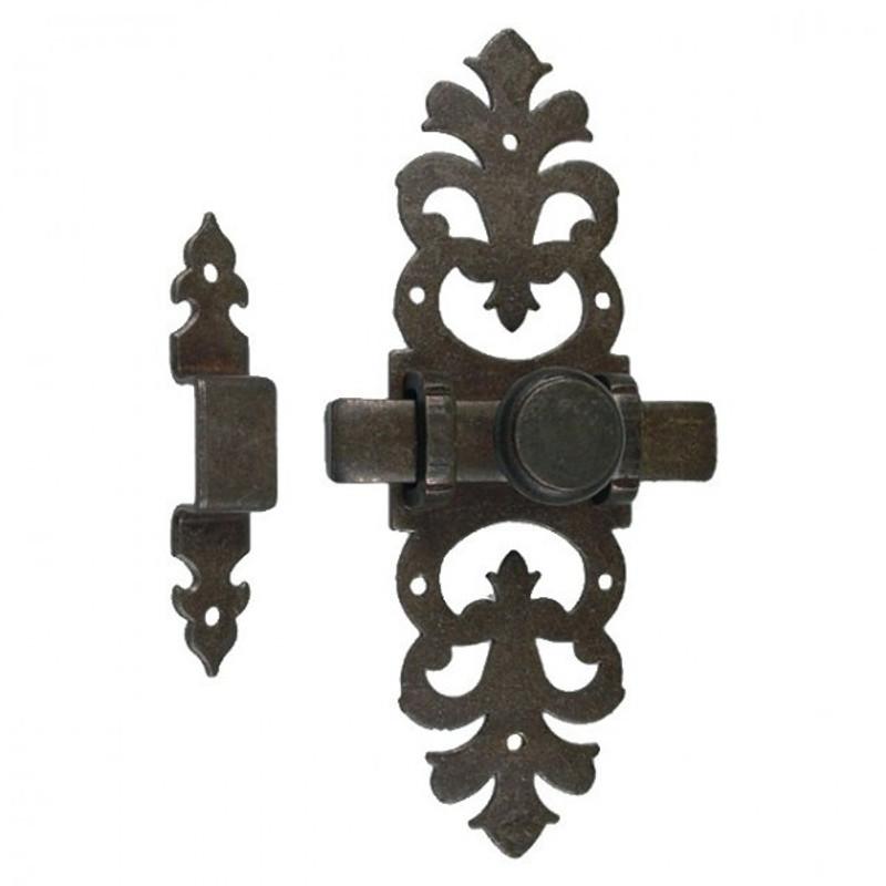 Schlossriegel Möbel Tür Riegel Schrank Zubehör im antiken Design aus Eisen. Rustikaler Beschlag für Möbelbauer.