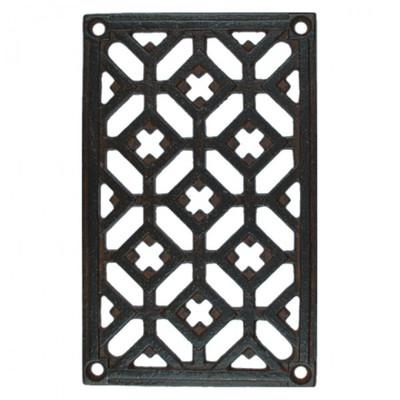 Gitter Schmiedeeisen Fenstergitter Möbelbeschlag Türbeschlag im rustikalen Stil. Rechteckiges Metall Gitter aus Eisen.