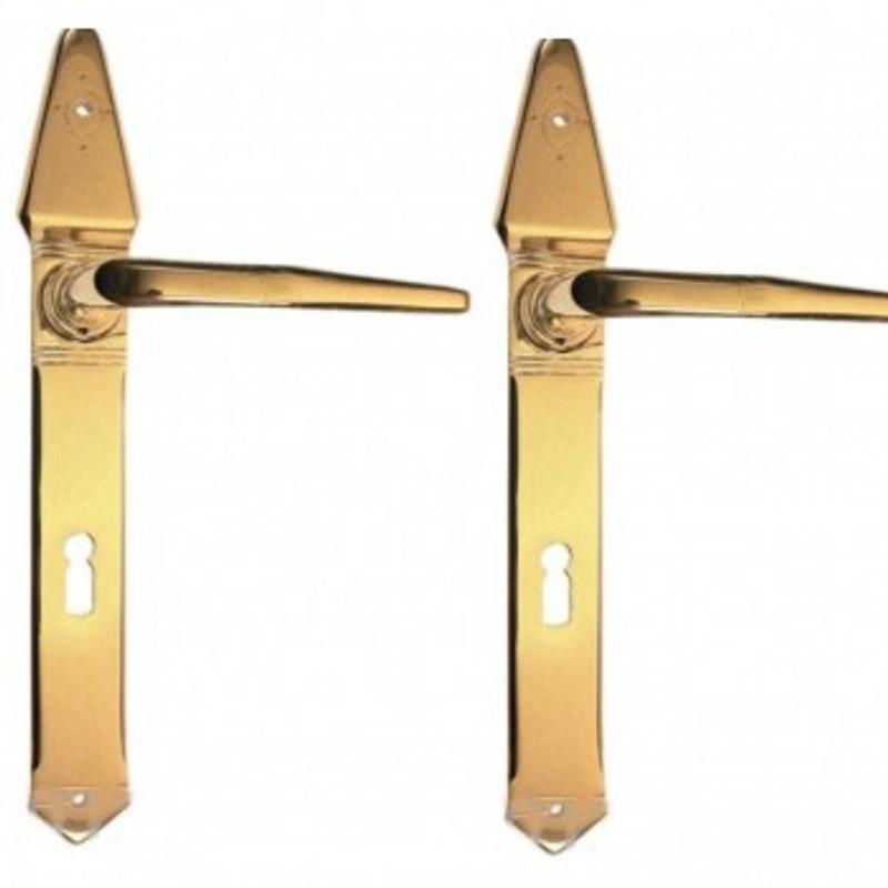 Türgriffe Langschildgarnituren Buntbart Messing Türbeschläge Set im schlichten Stil passend für eine Zimmertür bestellen.