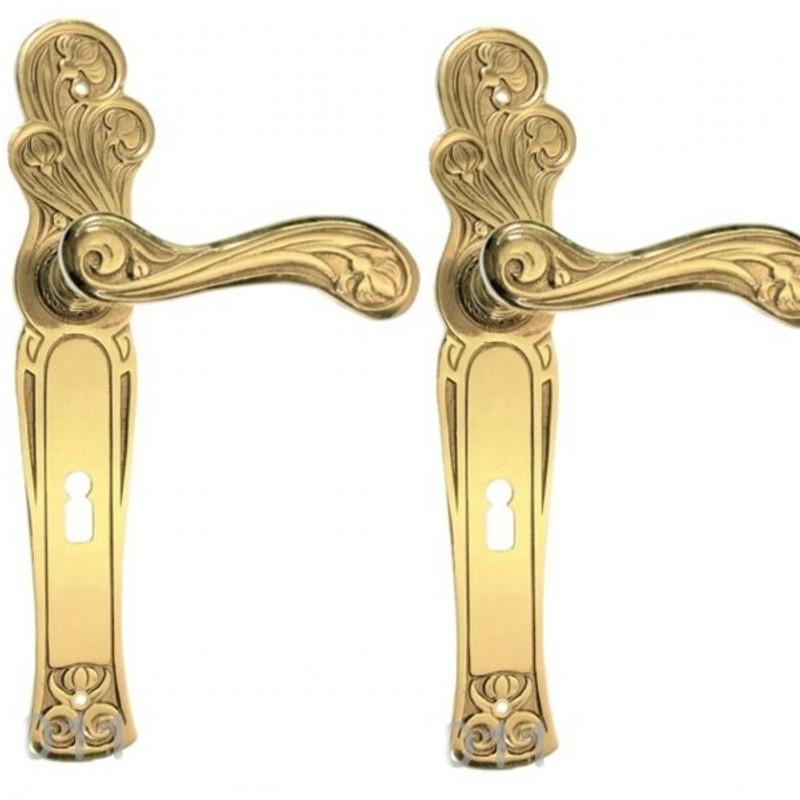Türklinken Jugendstil Messing Langschildgarnitur Antik mit Buntbart Schlüssel Bohrung für eine Zimmertür im Set.