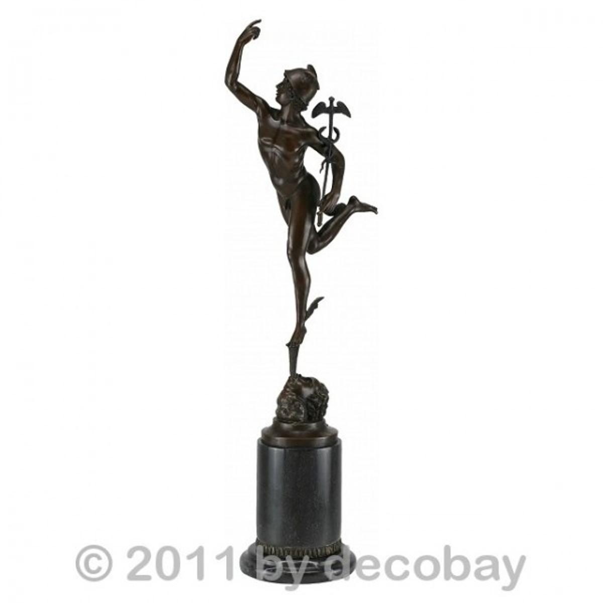 Bronze Statue Dekoration Götterbote Bronze Hermes Deko Nachbildung der antiken bronzenen Skulptur als dekorative Statue für Ihr Wohnzimmer.