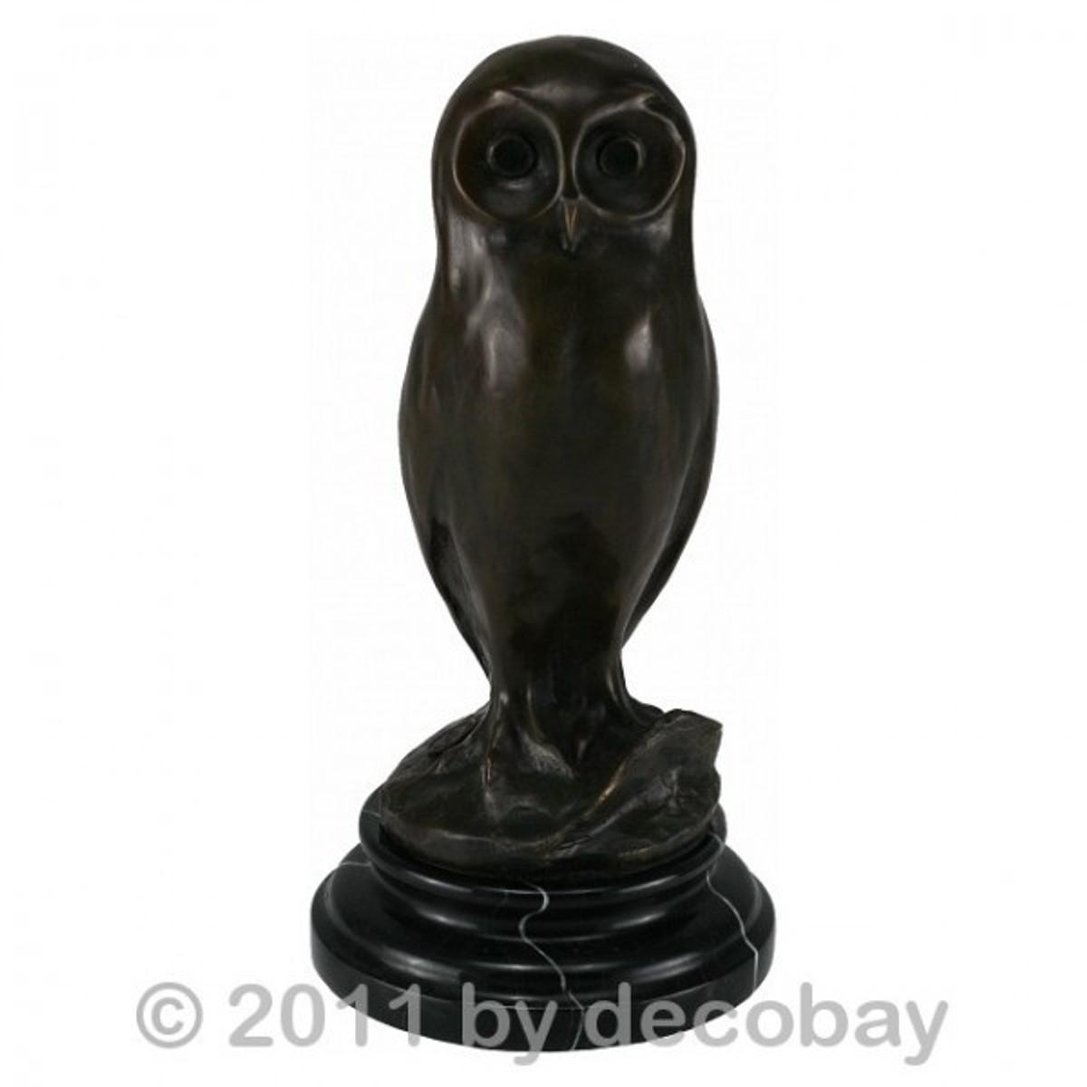 Kluge Eule Skulptur aus Bronze als Deko Figur kaufen. Authentisch wie aus der Antike.