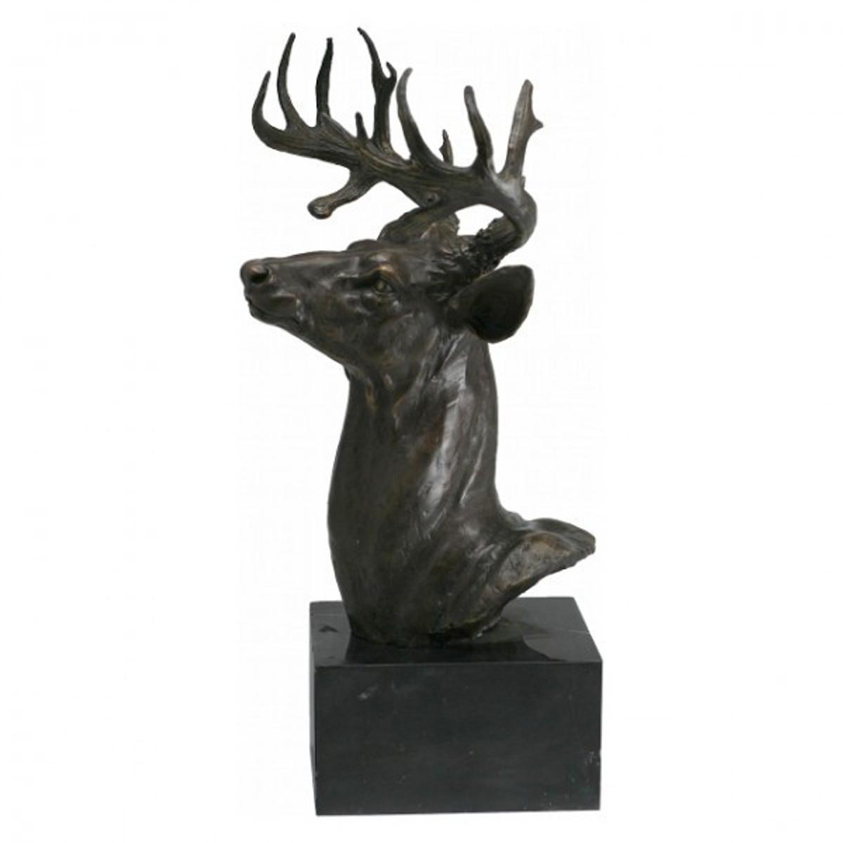 Gartenfigur aus Metall Hischkopf Bronze Skulptur Geweih in präziser Verarbeitung jetzt online zum Top Preis bestellen.