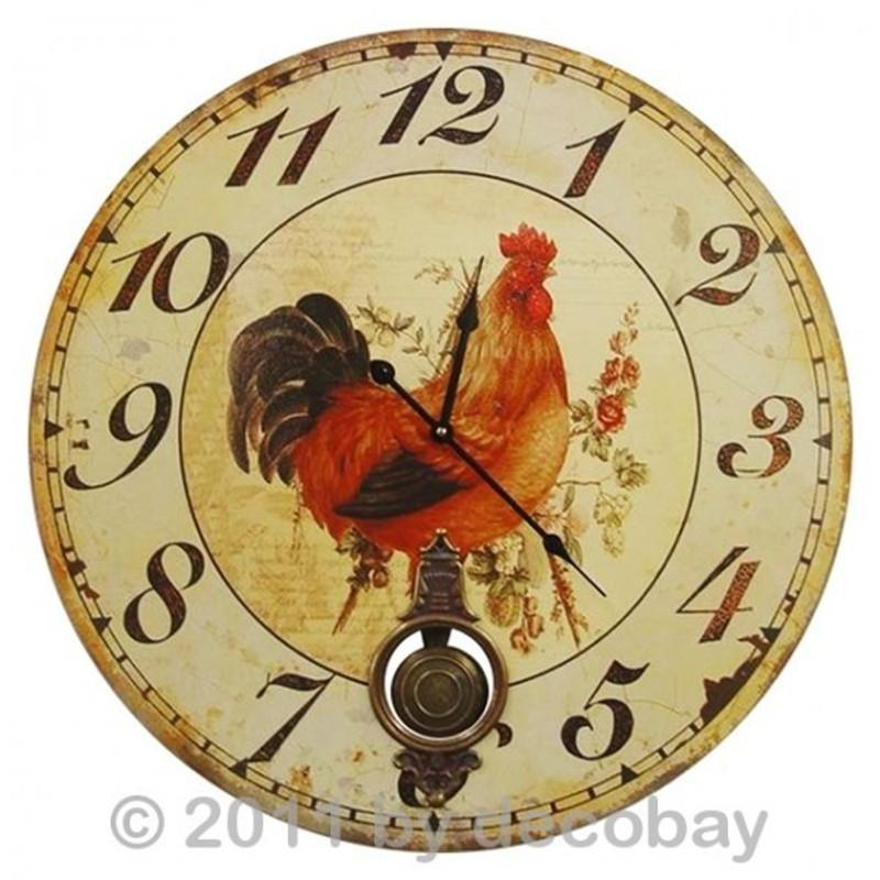 Wanduhr mit Hühnchen Motiv für die Küche. Toller Zeitmesser wie auf Bauernhof antik.