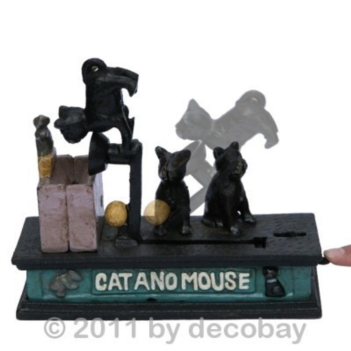 Katz und Maus Katze Maus Spardose Deko aus Gusseisen. Niedliches Tier Motiv als Helfer zum Sparen im Online Shop kaufen.