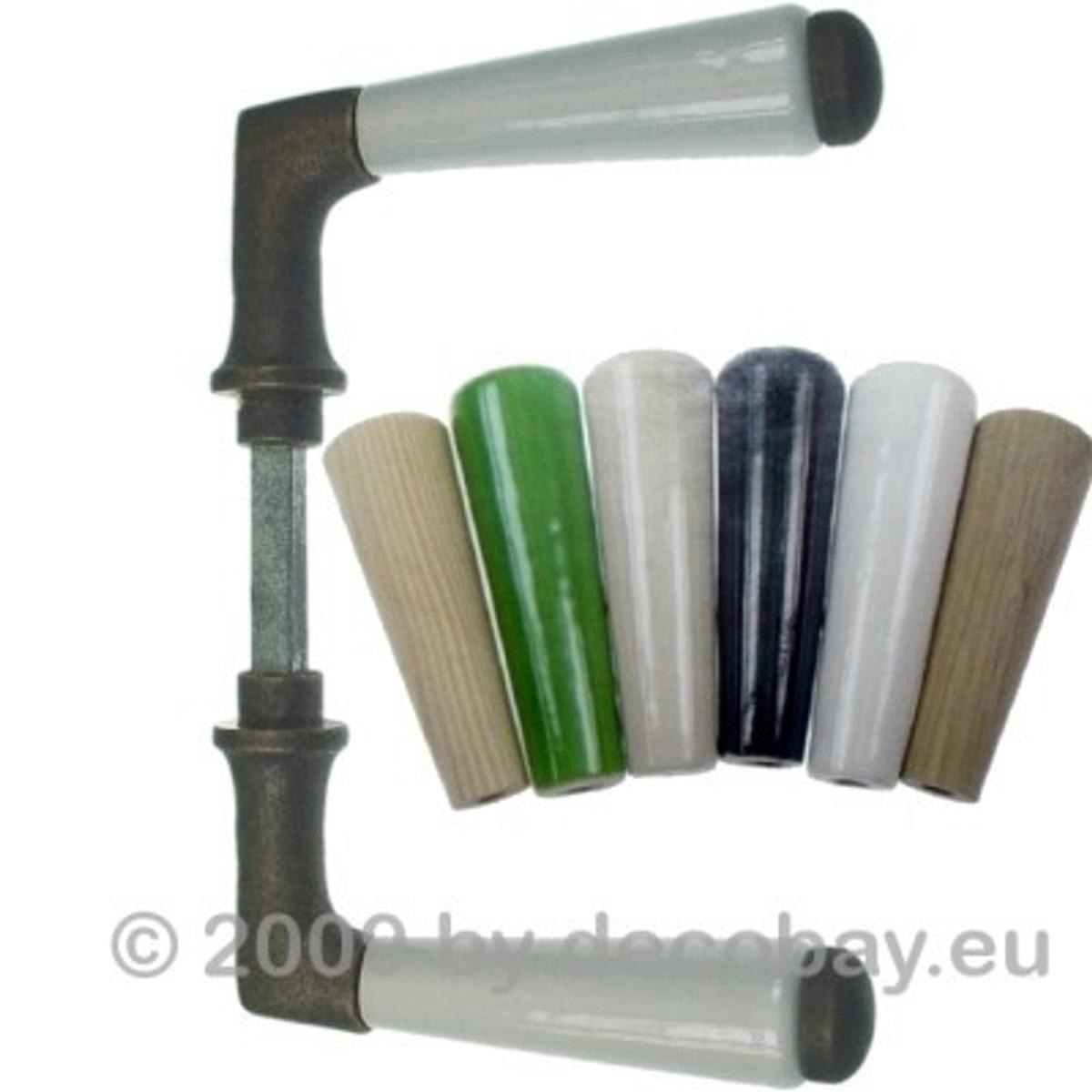 Türgriffe Retro Türgriff-Shop Antik Messing mit grünem Porzellan Griff kombiniert für Nostalgie Flair.