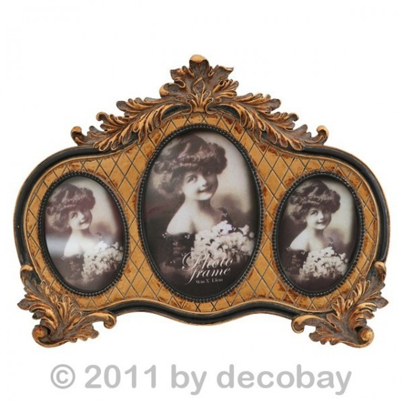 3er Fotorahmen mit ovalen Bilderrahmen angeordnet. Nostalgie für Feinschmecker.