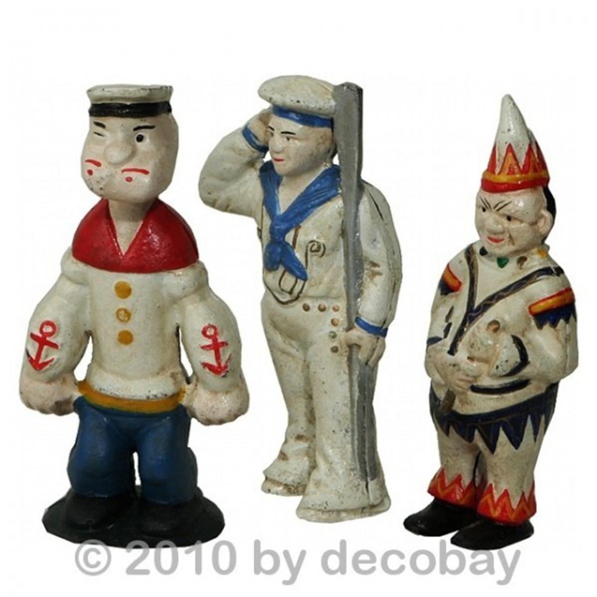 Spardosen Figuren Set Gusseisen im 3er Set. Tolle Geschenkidee für Popeye Fans.