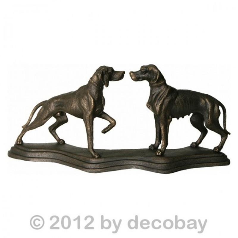 Jagdhunde Paar aus 2 Jagd Hunden. 2 Hunde auf gebogenem Sockel massiv Gußeisen. Schöne Dekoration für Jäger und Sammler.