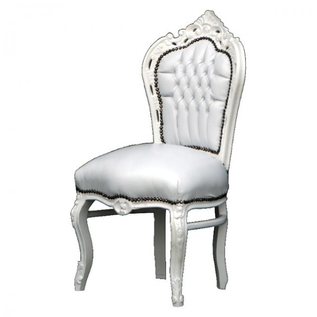 Retro Stuhl Weiß Sky Lederstuhl Barock Esszimmerstuhl Online Bestellen Für  Ein Esszimmer In Weiß.