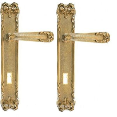 Alte Holztüren kaufen Langschildgarnitur Zimmertür wechseln aus Messing für Buntbart 72er Türschlösser.