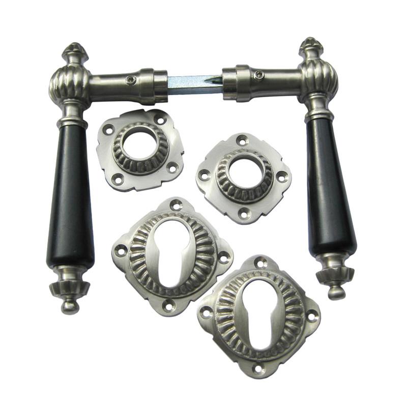 Antikbeschläge für PZ Türen und Profilzylinderschloss mit Ebenholz Griff schwarz.