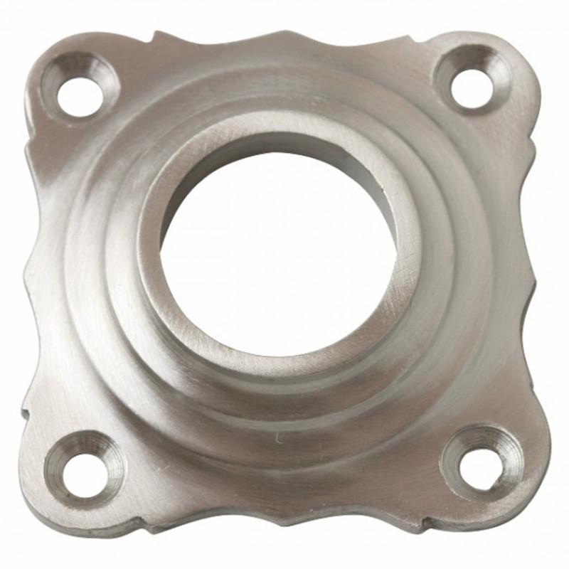 Quadratische Rosette Nickel matt mit Verzierung rund geriffelt als Türrosette kaufen.