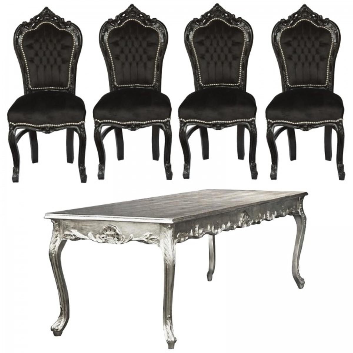 Esstisch mit 4 Stühlen in edlem Schwarz und Blatt Silber 160m ...
