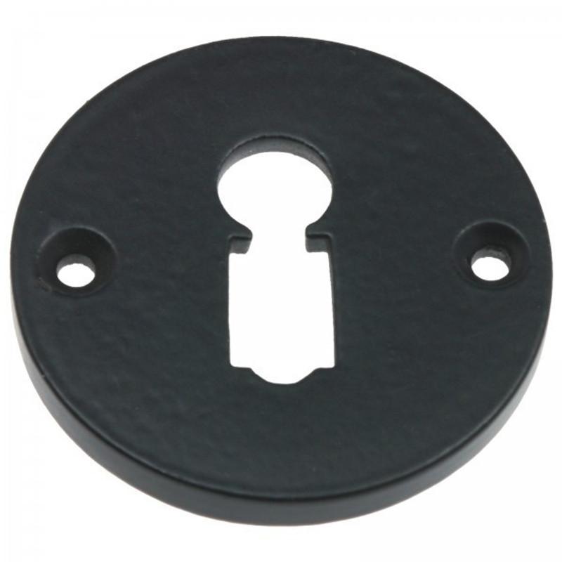 BB Schlüsselrosette rund aus Eisen schwarz als Beschlag für Buntbart Türen Schlösser.