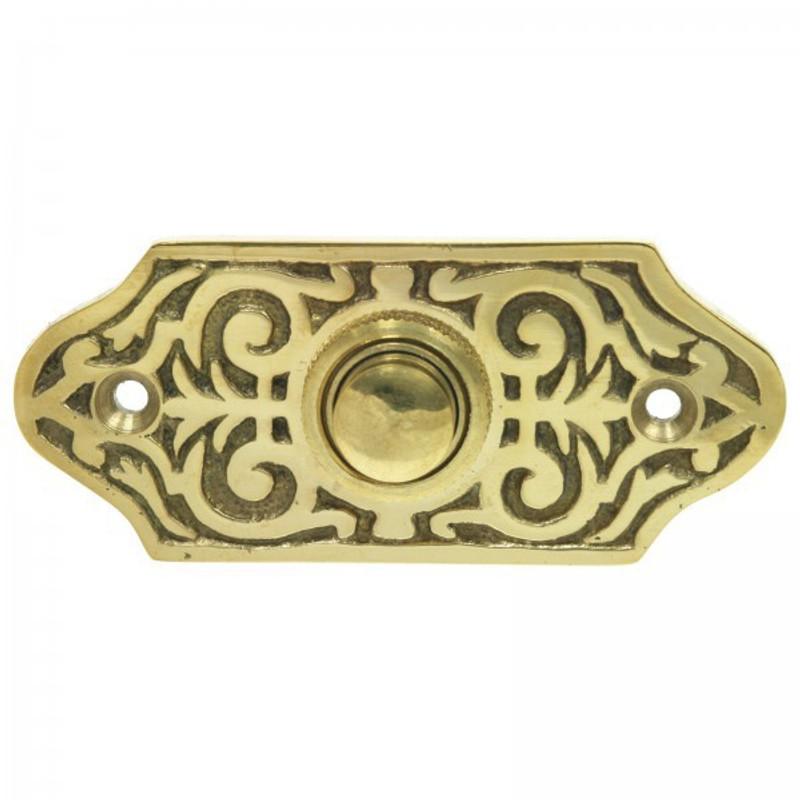 Hausklingel Tür Klingel Messing poliert im antiken Retro Vintage Style für Haustür und Wohnungstür.