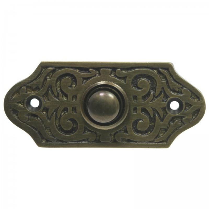 Tür Klingel im Vintage Design aus Messing mit Patina für Haus und Wohnung.