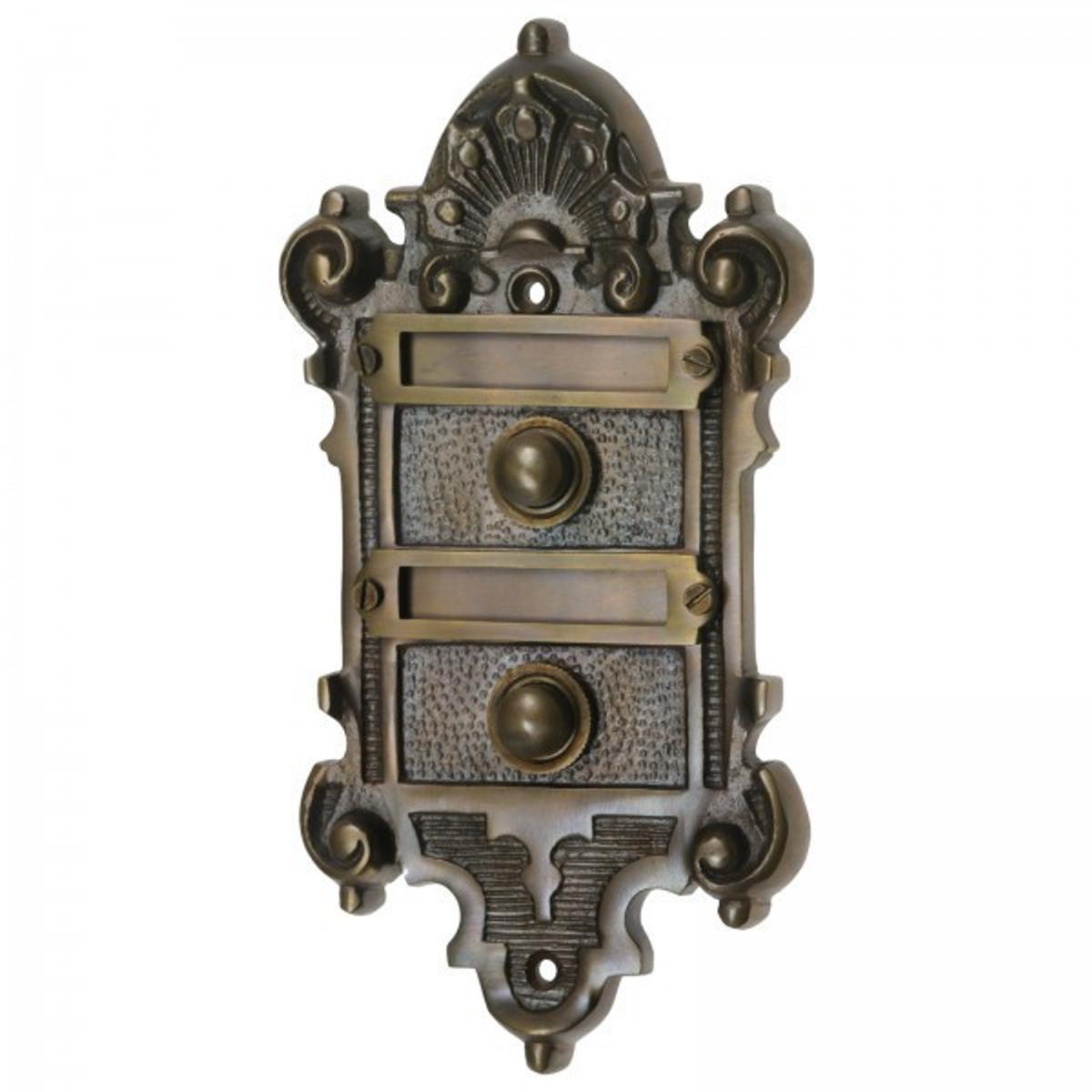 Klingelschilder Türklingel 2 er Set Klingeltaster für Haustüren mit 2 Wohnungen aus Messing patiniert.