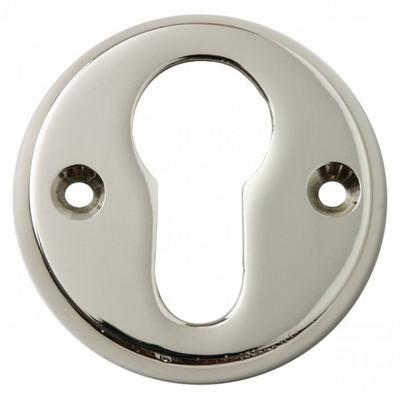 Profilzylinder Beschlag Rosette in runder Form glänzend vernickelt für PZ Schließzylinder.