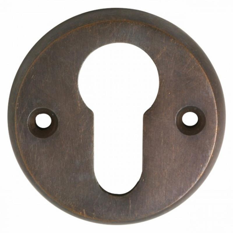 PZ Rosette Messing mit Patina als Profilzylinder Schlüsselloch Abdeckung im antiken Design und Stil.