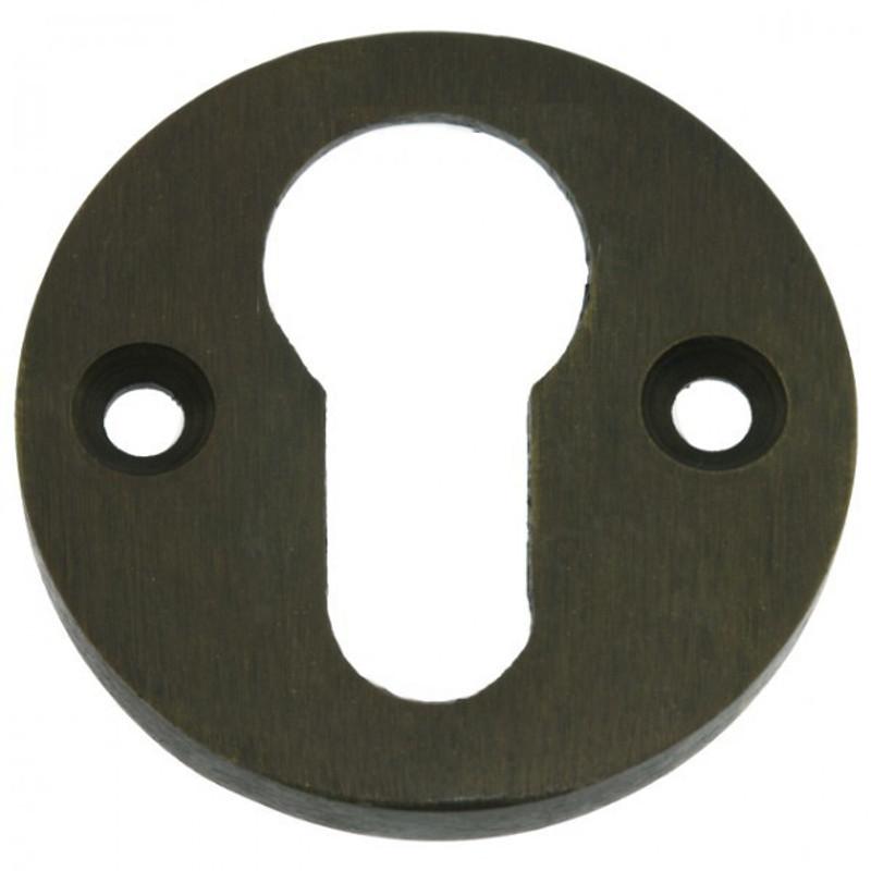 Schlossrosette als Türen Beschlag für Profilzylinder Schlösser aus Messing mit antiker Patina.
