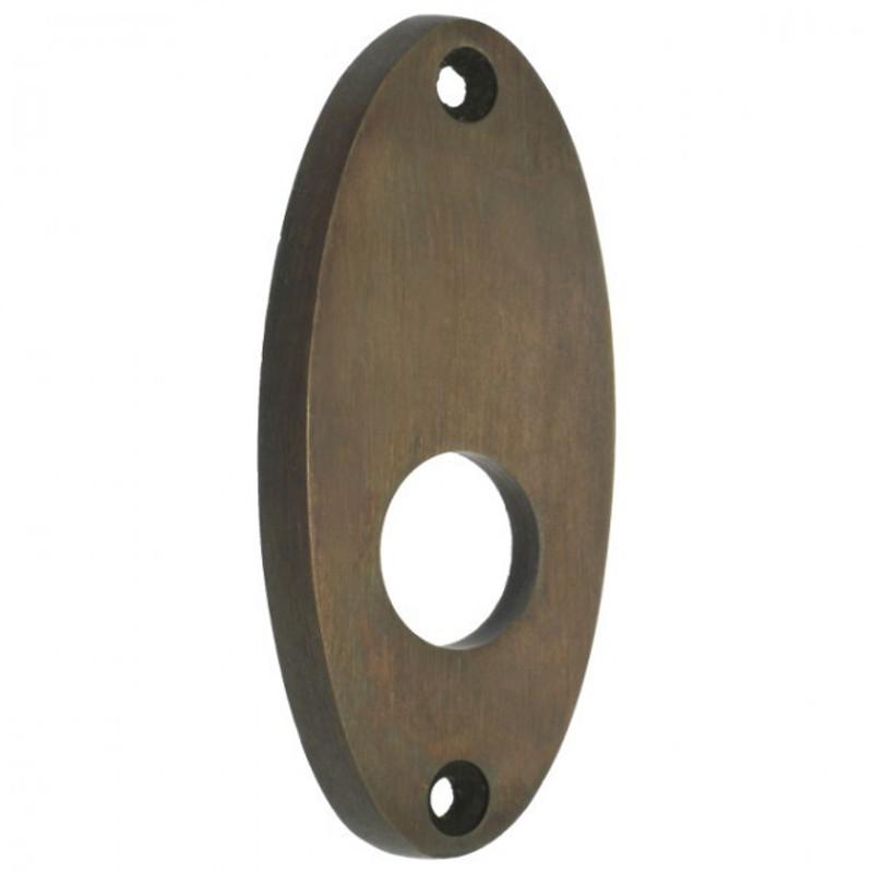 Wohnungstüren renovieren mit dieser Drücker Rosette oval aus Messing mit Patina für Landhausstil Design.