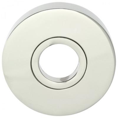 Türbeschläge für Außentüren in runder Form aus poliertem glänzendem Nickel als Rosette für Türdrücker und Griffe.