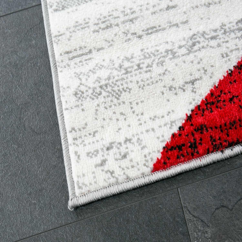 Designer Wohnzimmer Teppich Geometrisches Muster Meliert Grau Weiss